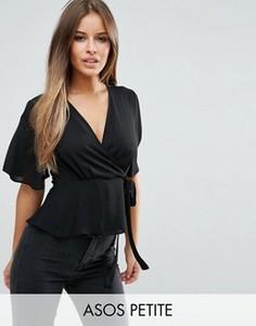 Блузка с запахом ASOS PETITE - Черный