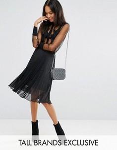 Плиссированная юбка мили цвета металлик Fashion Union Tall - Черный
