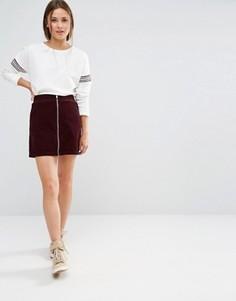 Вельветовая мини-юбка с молнией спереди New Look - Красный