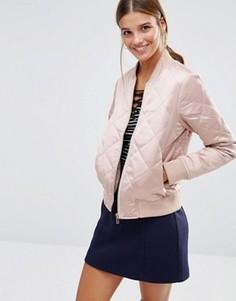 Дутая стеганая куртка-пилот New Look - Розовый