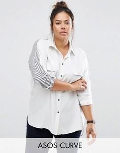 Oversize-рубашка с контрастными вставками в полоску ASOS CURVE - Мульти