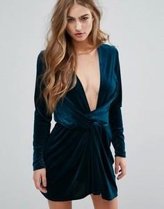 Бархатное платье с запахом Missguided - Синий