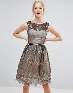 Платье для выпускного с вышивкой Little Mistress - Черный