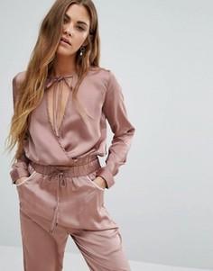 Топ с запахом спереди и завязками на шее Young Bohemians - Розовый