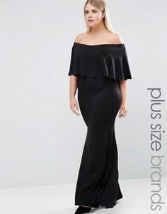Платье макси с накладкой Club L Plus Essentials - Черный