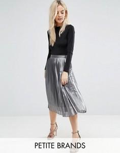 Плиссированная юбка цвета металлик Boohoo Petite - Серый