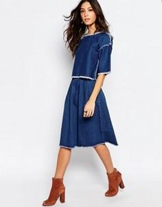 Джинсовая юбка миди с необработанным краем First & I - Синий
