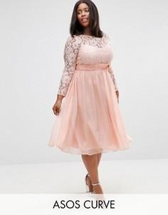 Платье миди с кружевом и бантом ASOS CURVE WEDDING - Розовый