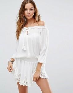 Пляжное платье с отделкой кроше Surf Gypsy - Белый