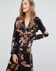 Пижамная рубашка с цветочным принтом Y.A.S - Черный