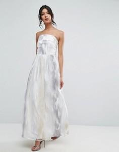 Каскадное платье макси Little Mistress - Серый