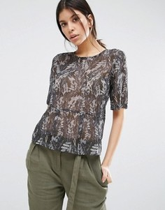 Блузка с принтом и баской Vero Moda Kell - Серый