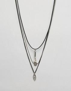 Ожерелье в несколько рядов с бусинами Ashiana - Черный