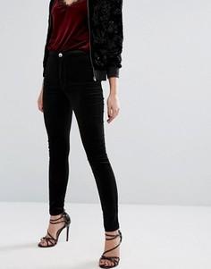 Бархатные джинсы с завышенной талией Miss Selfridge - Черный