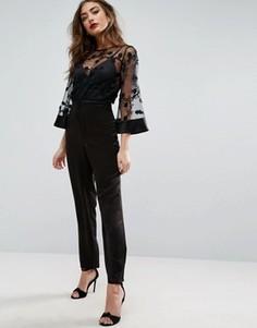 Комбинезон с кружевным верхом и атласными брюками ASOS - Черный