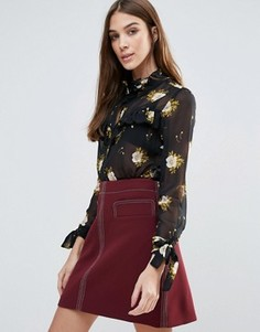 Блузка с цветочным принтом Influence - Черный