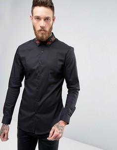 Рубашка скинни с вышивкой роз на воротнике ASOS - Черный