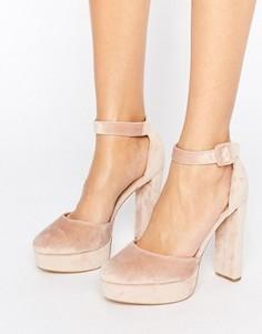 Бархатные туфли на платформе New Look - Розовый