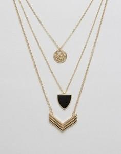 Многорядное ожерелье с дизайном в виде шевронов Ashiana - Золотой
