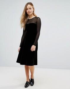 Велюровое платье-трапеция миди с прозрачными вставками Ganni Campbell - Черный