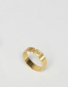 Кольцо ограниченной серии с луной и звездой - Золотой Asos