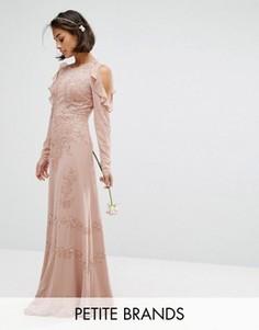 Платье макси с вырезами на плечах и пайетками Maya Petite - Розовый