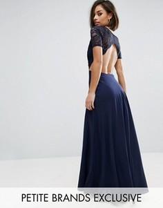 Платье макси с кружевным лифом и вырезами John Zack Petite - Темно-синий