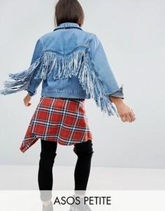 Синяя выбеленная джинсовая куртка с бахромой на спине ASOS PETITE - Синий