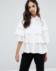 Рубашка с рюшами Boohoo - Белый