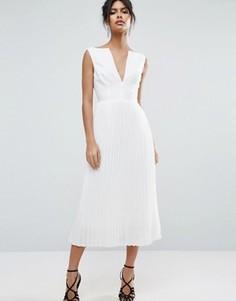 Плиссированное платье миди ASOS - Белый