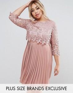 Премиум-платье миди с кружевным верхним слоем и юбкой плиссе Little Mistress Plus - Розовый
