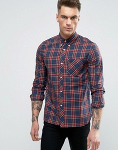 Fred Perry REISSUES Shirt Tartan Check Slim Fit in Navy - Темно-синий