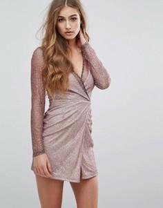 Облегающее блестящее платье с длинными рукавами Missguided - Розовый
