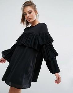 Свободное платье с плиссированными рюшами Boohoo - Черный