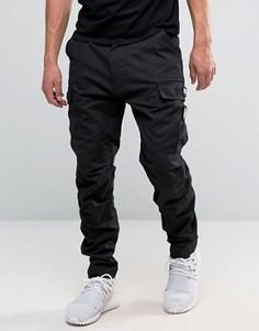 Черные брюки-карго с нашивками в стиле милитари Dxpe Chef - Черный