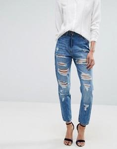Рваные джинсы бойфренда с завышенной талией Parisian - Синий