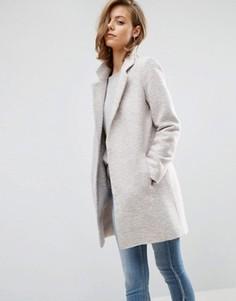 Фактурное пальто узкого кроя ASOS - Stone