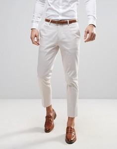 Строгие укороченные зауженные брюки ASOS WEDDING - Кремовый