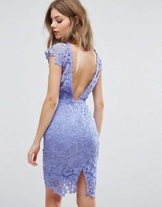 Кружевное платье миди с фигурной отделкой на спине Paper Dolls - Синий