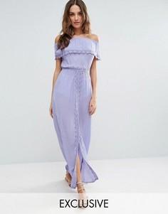 Пляжное платье с открытыми плечами и оборкой Akasa - Фиолетовый