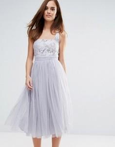 Платье миди из кружева и сетки Little Mistress - Серый