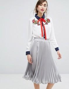 Рубашка с завязкой у горловины и цветочной аппликацией E.F.L.A - Белый