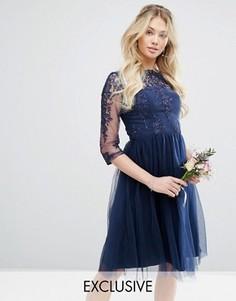 Кружевное платье миди с юбкой из тюля Chi Chi London - Темно-синий