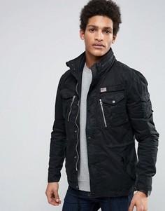 Черная куртка милитари со складывающимся в воротник капюшоном Schott Squad - Черный