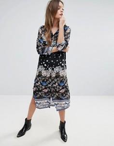 Длинное платье-рубашка QED London - Черный