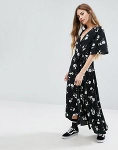 Платье миди с запахом и цветочным принтом Nobodys Child - Черный
