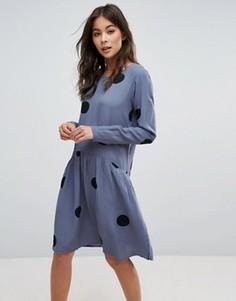 Платье в горошек Pieces Helen - Синий