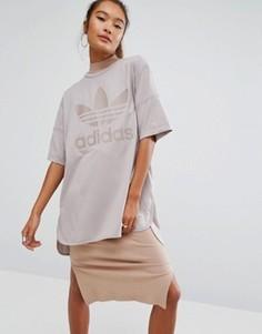 Oversize-футболка с логотипом‑трилистником adidas Originals - Бежевый