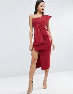 Платье миди на одно плечо с отделкой в стиле банта ASOS RED CARPET - Красный
