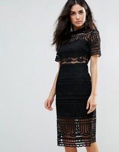 Кружевное платье с черной подкладкой Goldie Perspective Empire - Черный